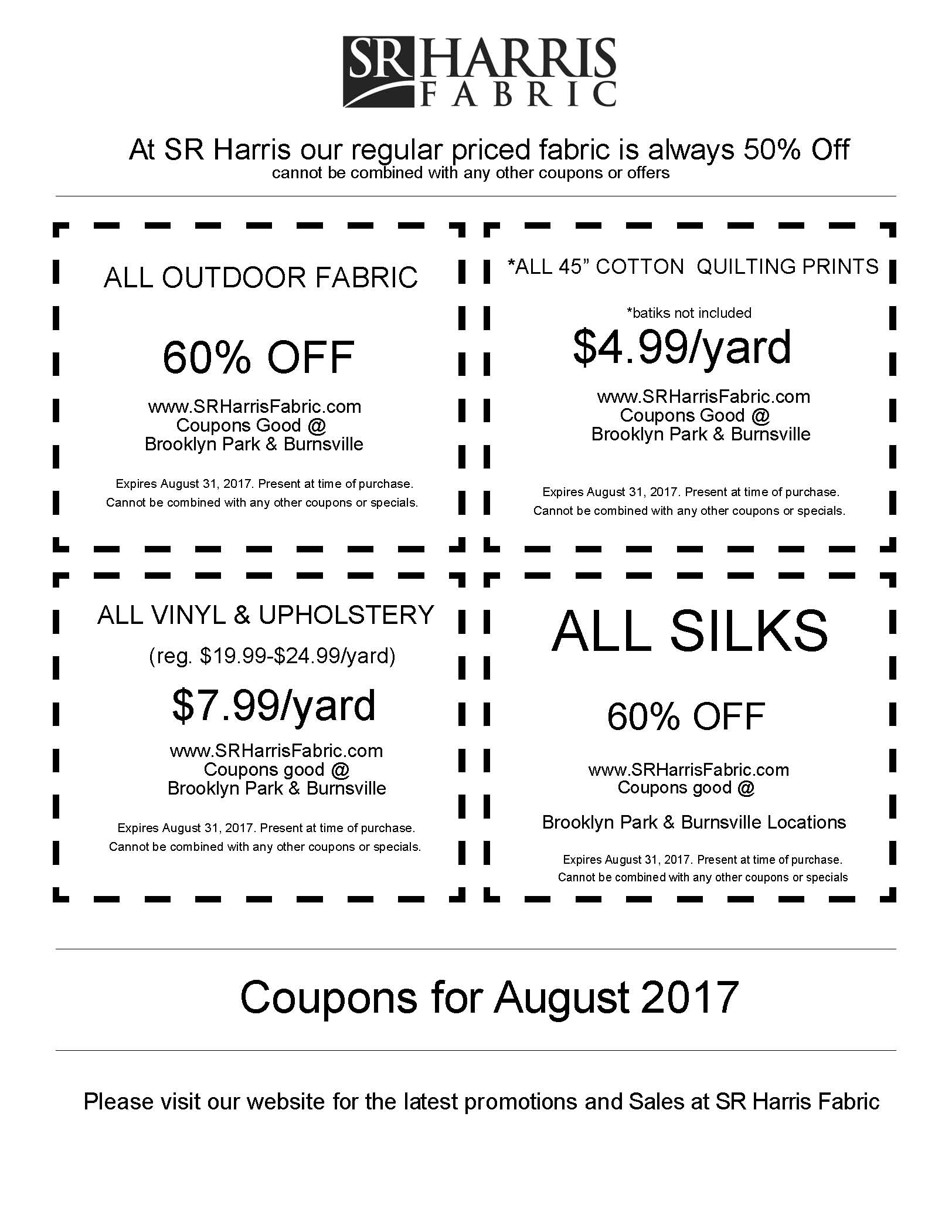 SR HARRIS August 2017 COUPONS