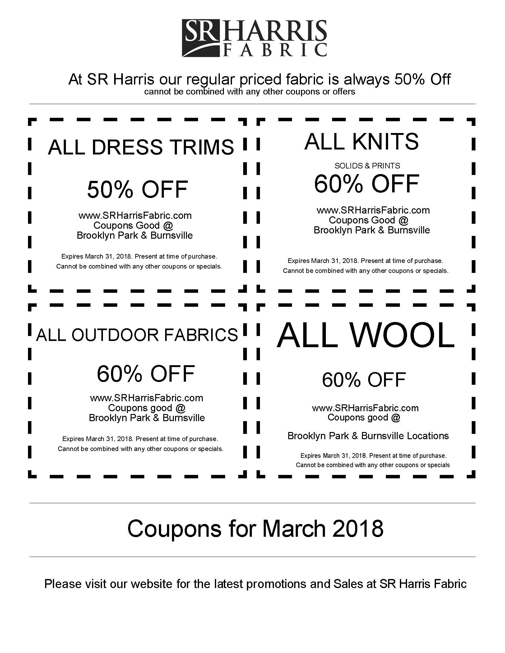SR Harris March Coupons
