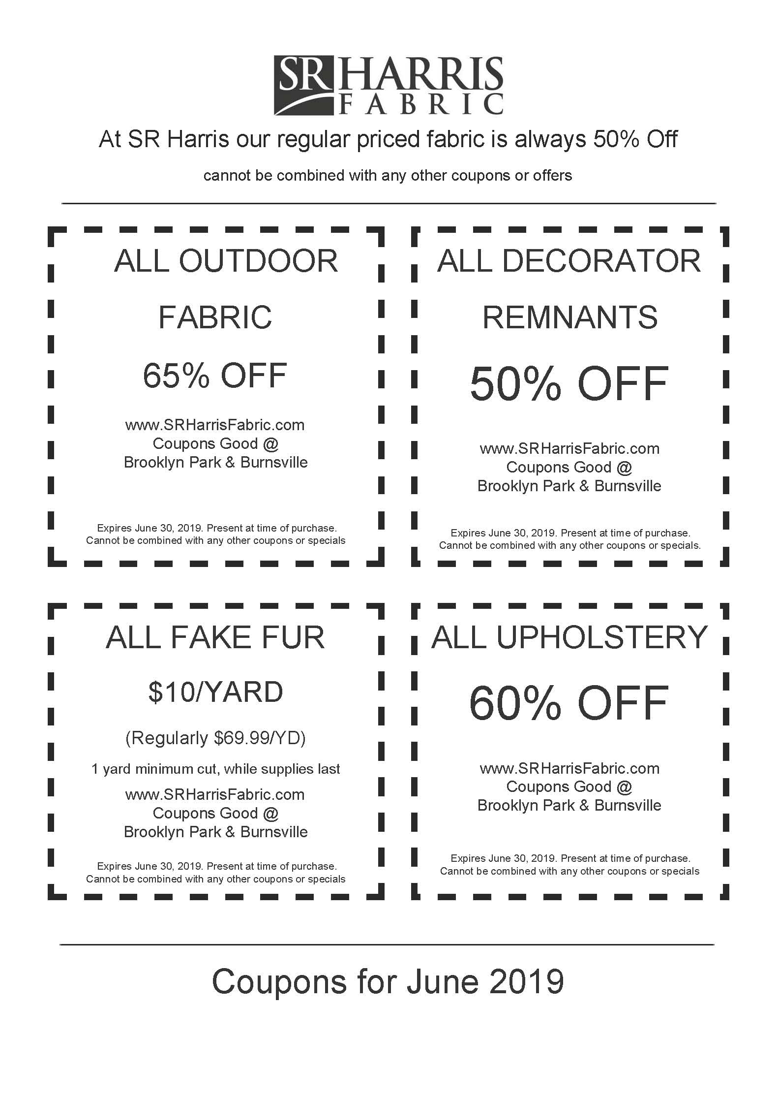 SR Harris Fabric Coupons for June 2019