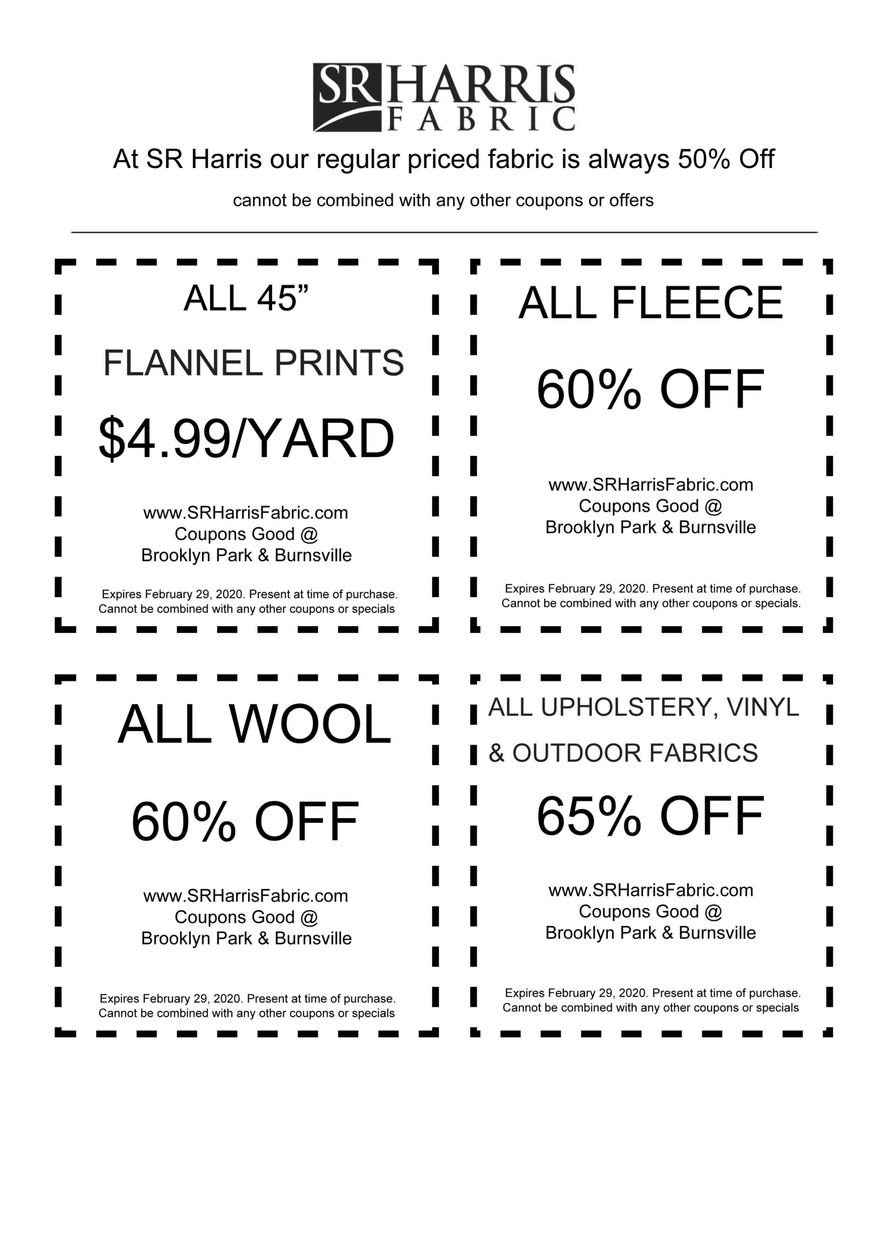 SR Harris Fabric Coupons